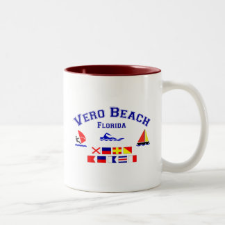 Vero Beach FL Signal Flags Two-Tone Coffee Mug