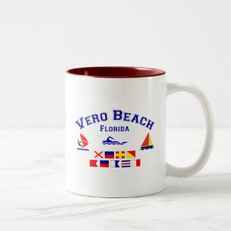 Vero Beach FL Signal Flags Two-Tone Coffee Mug