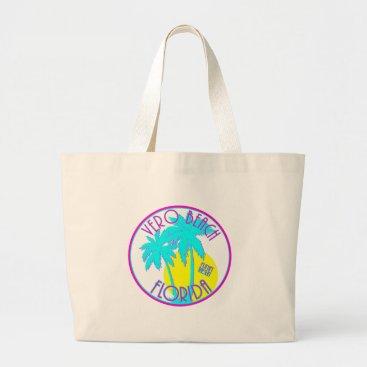 Beach Themed Vero Beach Florida Large Tote Bag