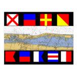 Vero Beach, Florida Nautical Chart Signal Flags Postcard