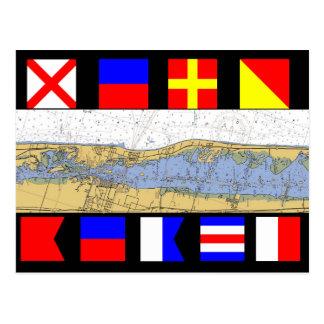 Vero Beach, Florida Nautical Chart Signal Flags Post Card
