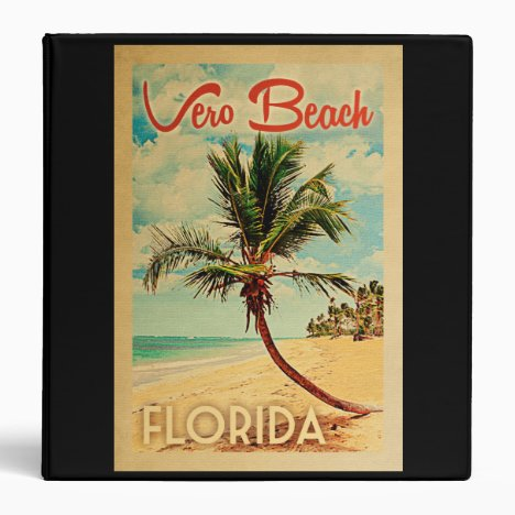 Vero Beach Florida Palm Tree Beach Vintage Travel 3 Ring Binder