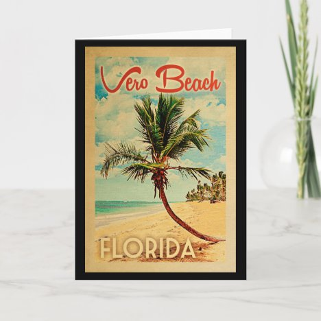 Vero Beach Florida Palm Tree Beach Vintage Travel Card