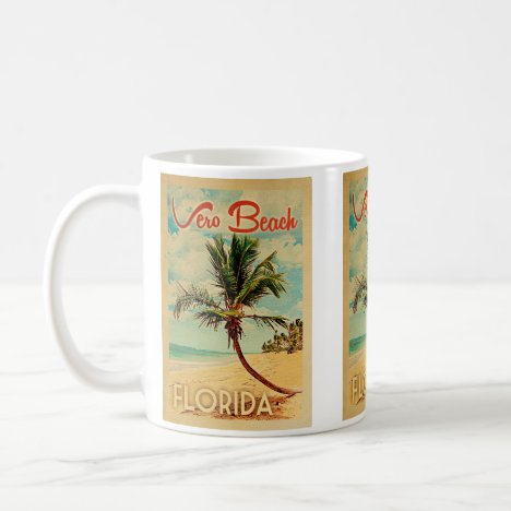 Vero Beach Florida Palm Tree Beach Vintage Travel Coffee Mug