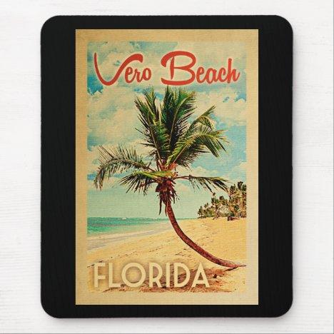 Vero Beach Florida Palm Tree Beach Vintage Travel Mouse Pad