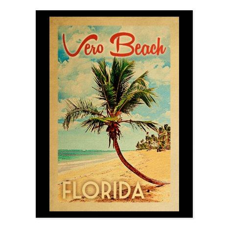 Vero Beach Florida Palm Tree Beach Vintage Travel Postcard