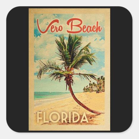Vero Beach Florida Palm Tree Beach Vintage Travel Square Sticker