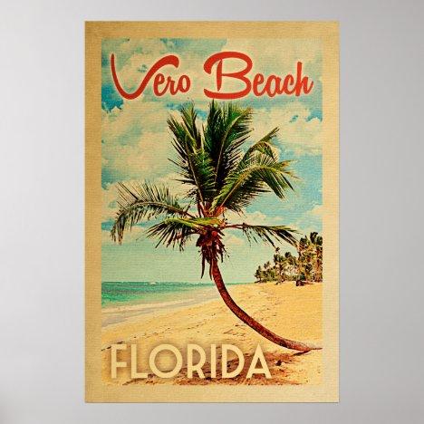 Vero Beach Florida Vintage Palm Tree Beach Poster