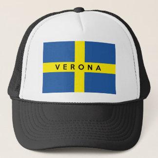 verona city flag italy symbol name text trucker hat