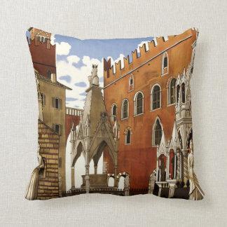 Verona Italy vintage travel throw pillow Cushions