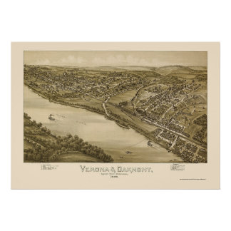 Verona & Oakmont, PA Panoramic Map - 1896 Poster