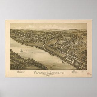 Verona - Oakmont  Penn 1896 Antique Panoramic Map Poster