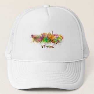 Verona skyline in watercolor trucker hat