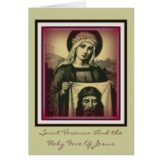 Veronica del santo y la cara santa de Jesús Tarjeta De Felicitación