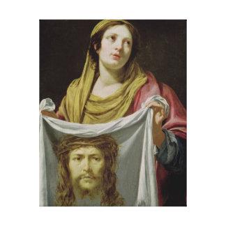 Veronica del St. que sostiene la cubierta santa Impresión En Lona Estirada