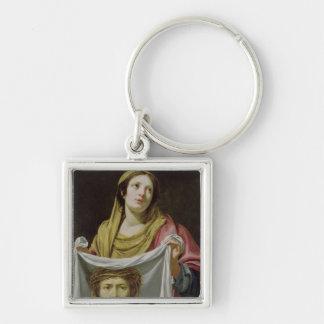 Veronica del St. que sostiene la cubierta santa Llavero Cuadrado Plateado