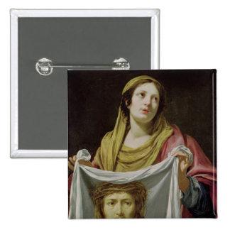 Veronica del St. que sostiene la cubierta santa Pin Cuadrada 5 Cm