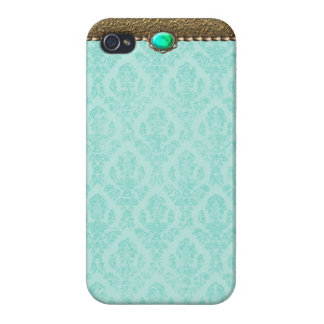 Veronica: Teal and Ocean Gold Print iPhone 4 Case
