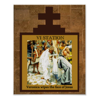 Veronica wipes the face of Jesus Station 6 Poster