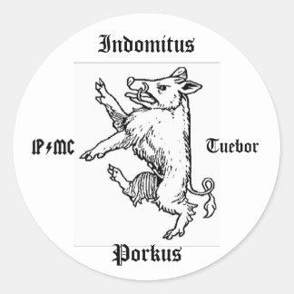 Verraco de Indomitus Porkus Pegatina Redonda