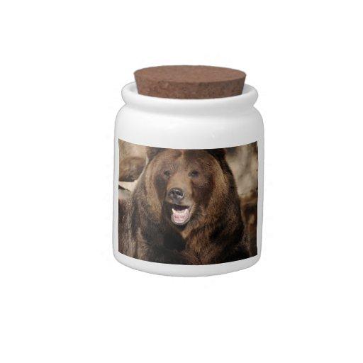 Verraco del oso grizzly jarras para caramelos