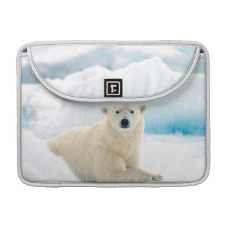 Verraco grande adulto del oso polar en el hielo funda para macbook pro