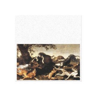 Verraco y perros impresion de lienzo