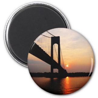 Verrazano Bridge at Dawn 2 Inch Round Magnet