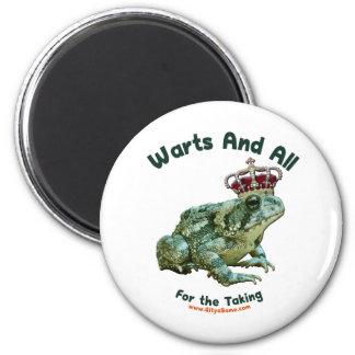 Verrugas y todo el príncipe del sapo de la rana imán redondo 5 cm