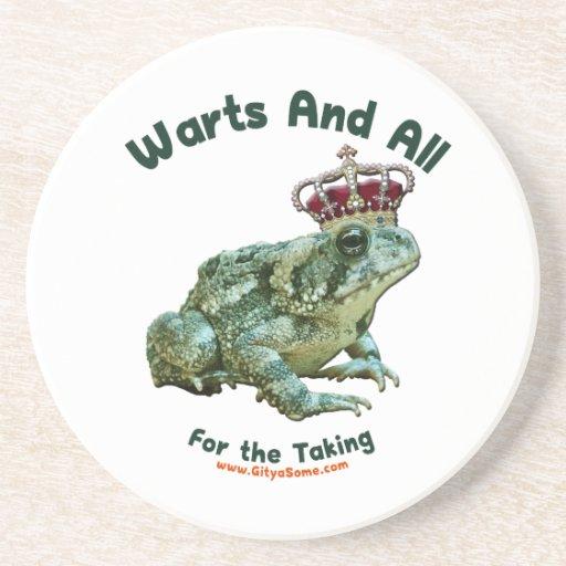 Verrugas y todo el príncipe del sapo de la rana posavasos de arenisca