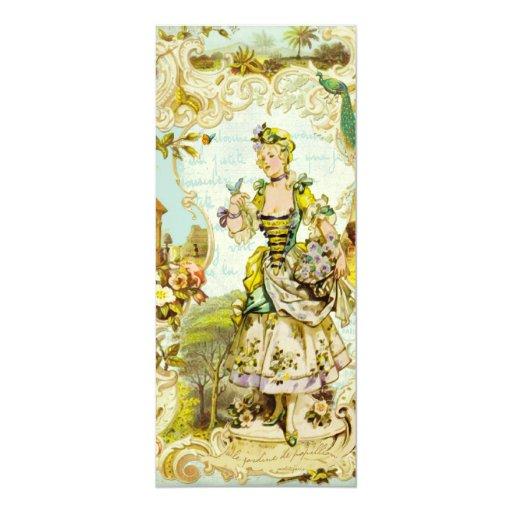 "Versailles Butterfly Garden Tea Length Invitations 4"" X 9.25"" Invitation Card"