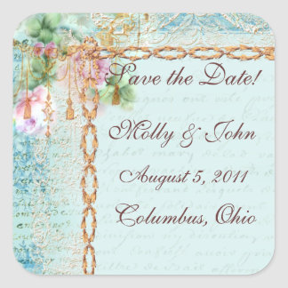 Versailles Pink Roses Save the Date Stickers