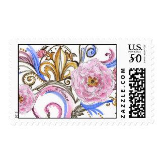 Versailles Swirl Fleur-De-Lis (Pink/Blue/Gold) Postage