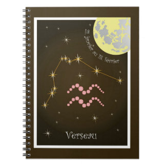 Verseau 21 January four outer 18 février note Spiral Notebook