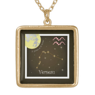 Verseau 21 January four outer 18 of février Gold Plated Necklace