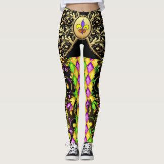 Version 2 Mardi Gras Diamonds Pop Fashion Leggings