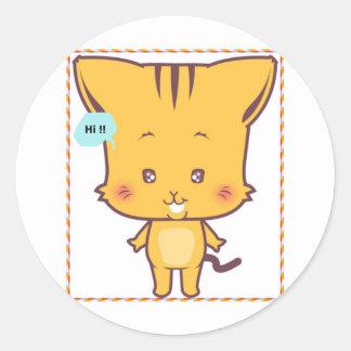 Versión 3 de los dibujos animados de s del gato pegatina redonda