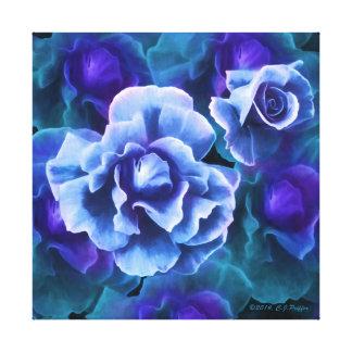 """Versión azul de los """"rosas Blanco-Inclinados"""" Impresion De Lienzo"""