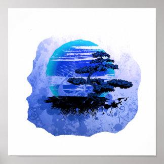 Versión azul gráfica del vintage de los bonsais póster