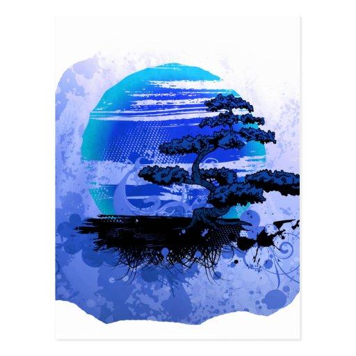 Versión azul gráfica del vintage de los bonsais postal