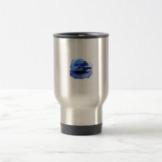Versión azul gráfica del vintage de los bonsais taza de viaje de acero inoxidable