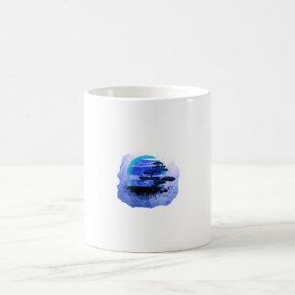 Versión azul gráfica del vintage de los bonsais taza básica blanca