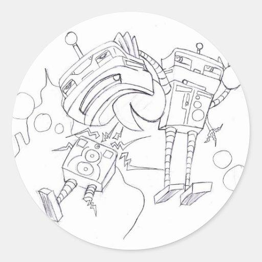 Versión blanco y negro de la lucha del robot etiqueta redonda