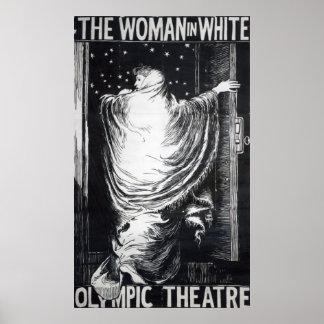 Versión de etapa de la mujer en White Poster