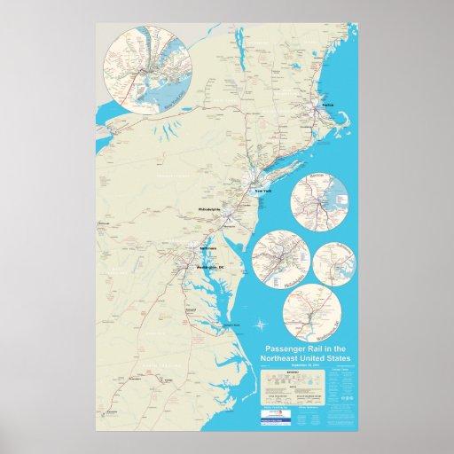 Versión de nordeste 1,1 del mapa del carril - de s poster