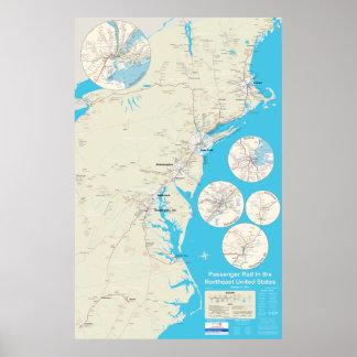 Versión de nordeste 2,0 del mapa del carril - 12 poster