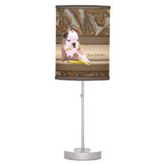 Versión del diseño adornado del oro del perrito #2 lámpara de mesilla de noche