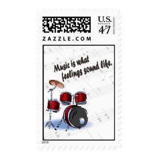 Versión del tambor - como qué sensaciones suene sellos postales