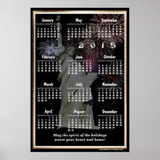 Versión dos del calendario de pared de los saludos póster