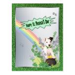 Versión feliz del St Patty del perrito de Jack Rus Tarjetas Postales
